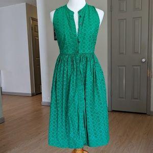J Crew Eyelet Sleeveless Dress - Green